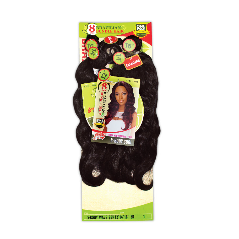 8 PIECES BRAZILIAN BUNDLE HAIR  S-BODY CURL