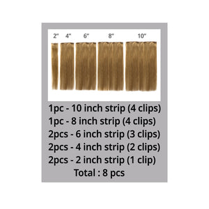 100% VIRGIN REMY 8PCS SEAMLESS CLIP-IN SILKY STRAIGHT