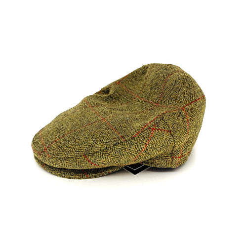 Green tweed flat cap