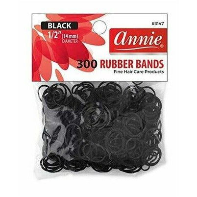 "Annie Rubber bands 300 1-2"" Black"