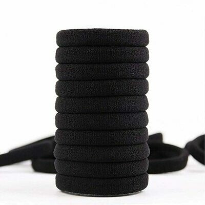 Elastic Hair Ties Ponytail Holders Black 12 pack