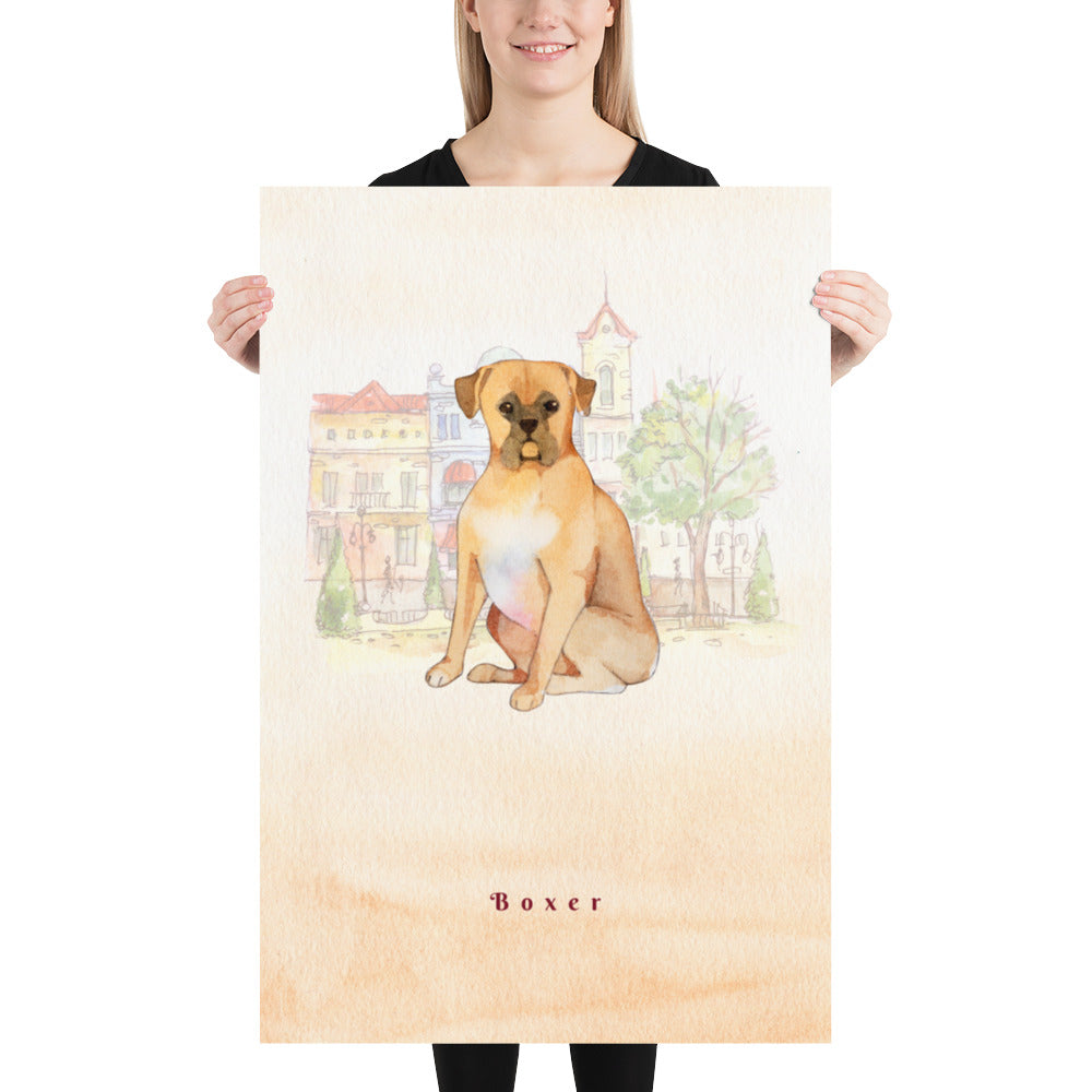 Boxer Dog Pet Art - Customizable Hand Drawn Watercolor Style Poster For Pet Lovers - Next Art Lab