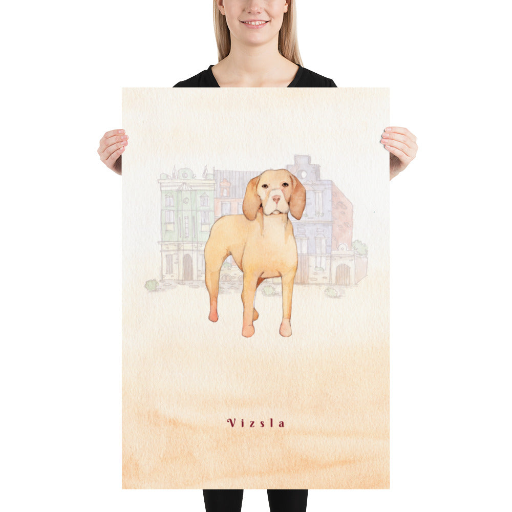 Vizsla Dog Pet Art - Customizable Hand Drawn Watercolor Style Poster For Pet Lovers - Next Art Lab
