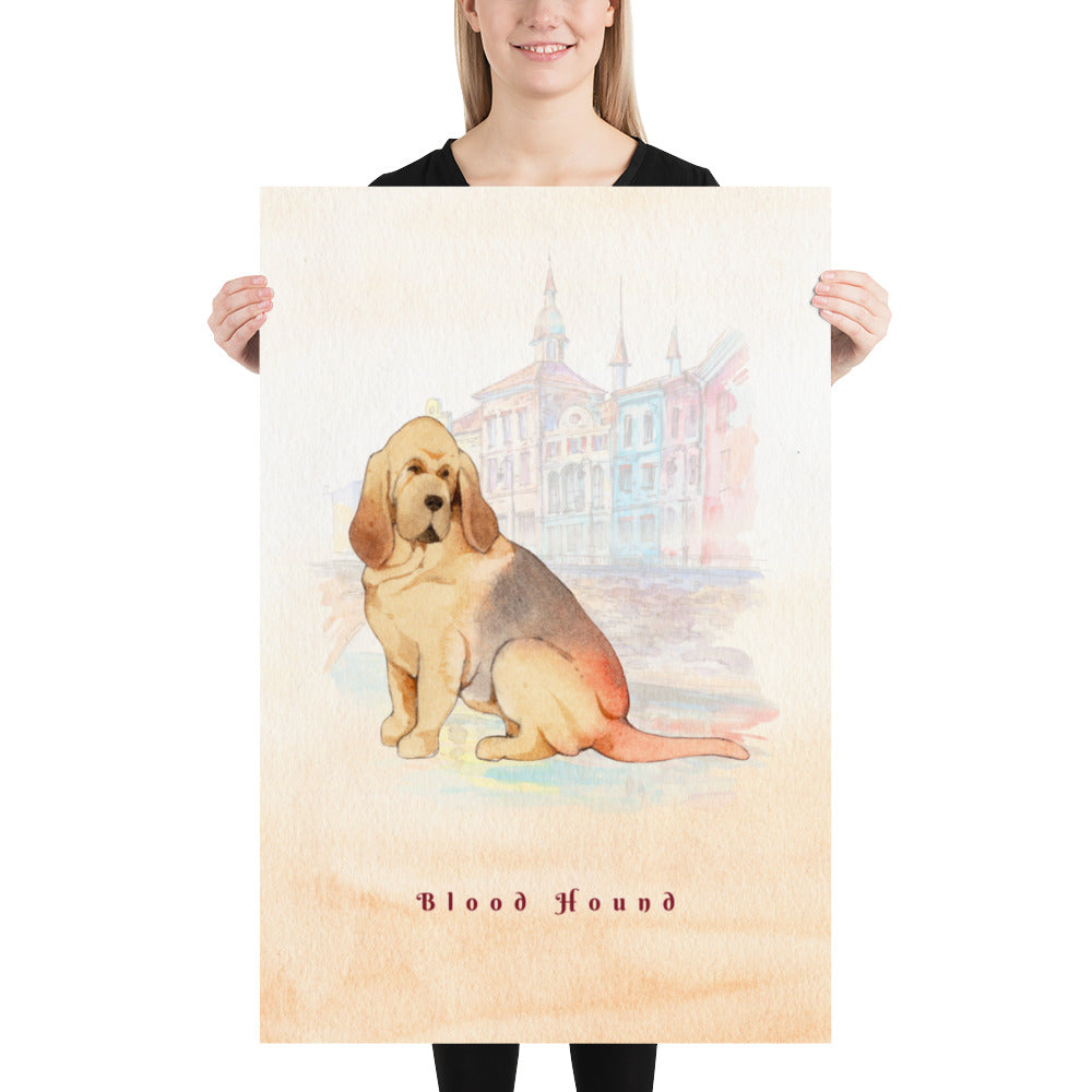 Blood Hound Pet Art - Customizable Hand Drawn Watercolor Style Poster For Pet Lovers - Next Art Lab