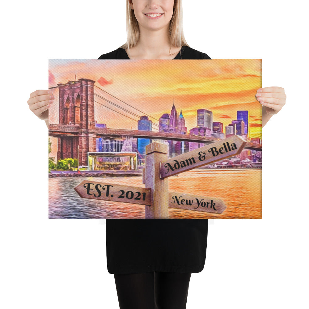 Love in New York Customizable Premium Canvas Art - Next Art Lab
