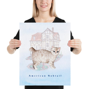 Open image in slideshow, American Bobtail Cat Pet Art - Customizable Hand Drawn Watercolor Style Poster For Pet Lovers