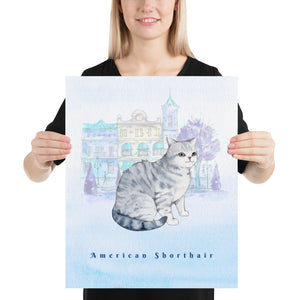 Open image in slideshow, American Shorthair Cat Pet Art - Customizable Hand Drawn Watercolor Style Poster For Pet Lovers