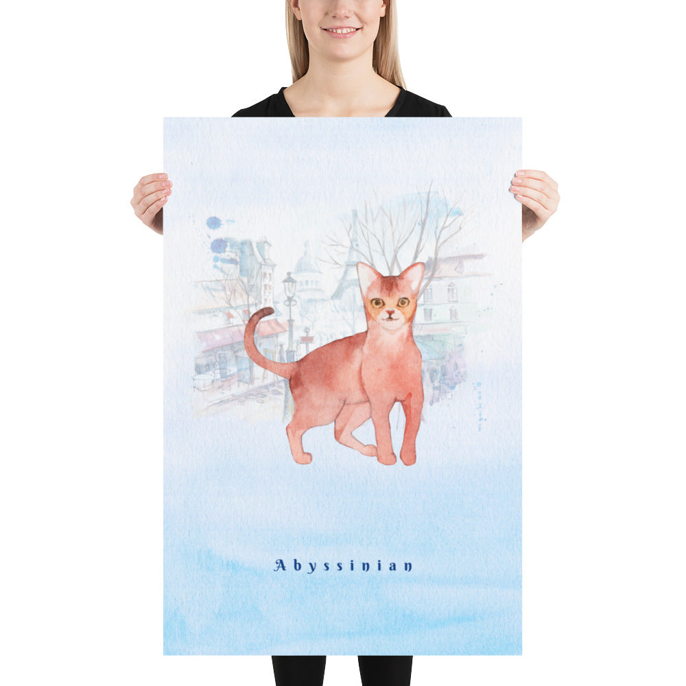 Abyssinian Cat Pet Art - Customizable Hand Drawn Watercolor Style Poster For Pet Lovers