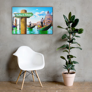 Open image in slideshow, Love in Venice Gondola Customizable Premium Canvas Art - Next Art Lab