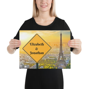 Love in Paris Sunset Customizable Premium Canvas Art - Next Art Lab