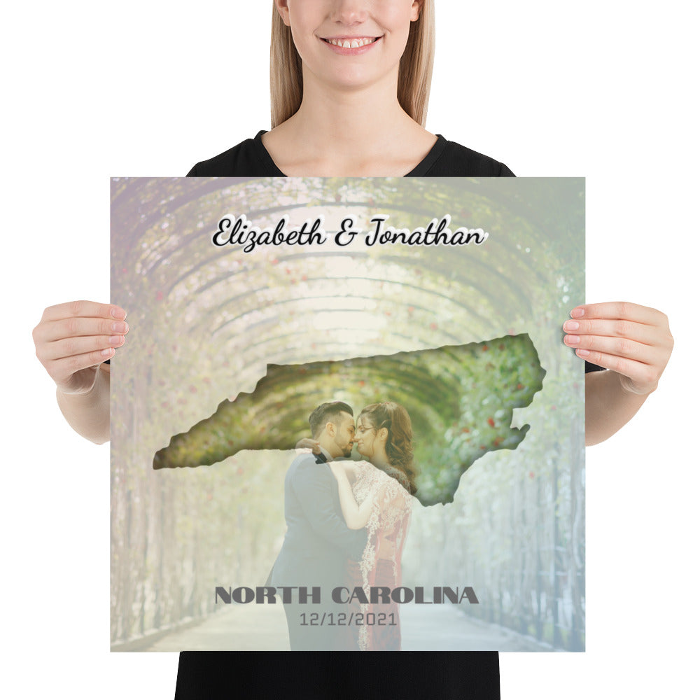 North Carolina State Of Love, Mark your memories with this customizable premium poster - Next Art Lab