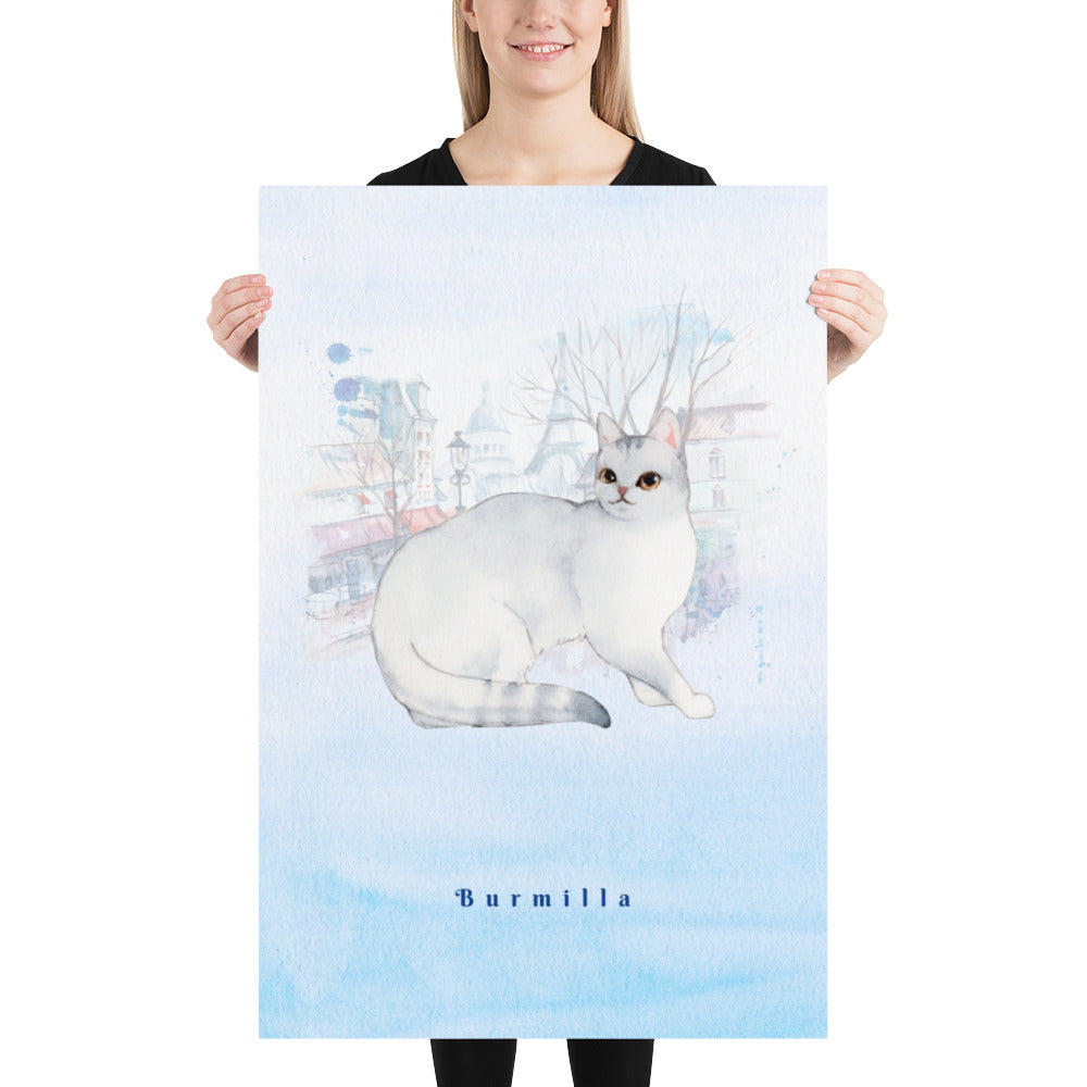 Burmilla Cat Pet Art - Customizable Hand Drawn Watercolor Style Poster For Pet Lovers