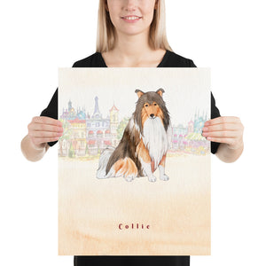 Open image in slideshow, Collie Dog Pet Art - Customizable Hand Drawn Watercolor Style Poster For Pet Lovers - Next Art Lab