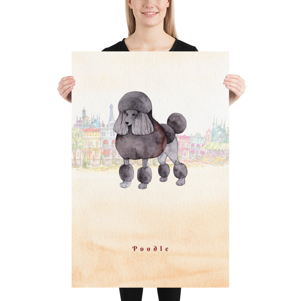 Poodle Dog Pet Art - Customizable Hand Drawn Watercolor Style Poster For Pet Lovers - Next Art Lab