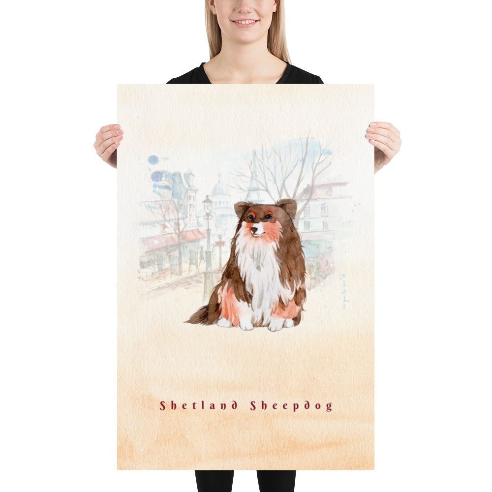 Shetland Sheepdog Pet Art - Customizable Hand Drawn Watercolor Style Poster For Pet Lovers - Next Art Lab