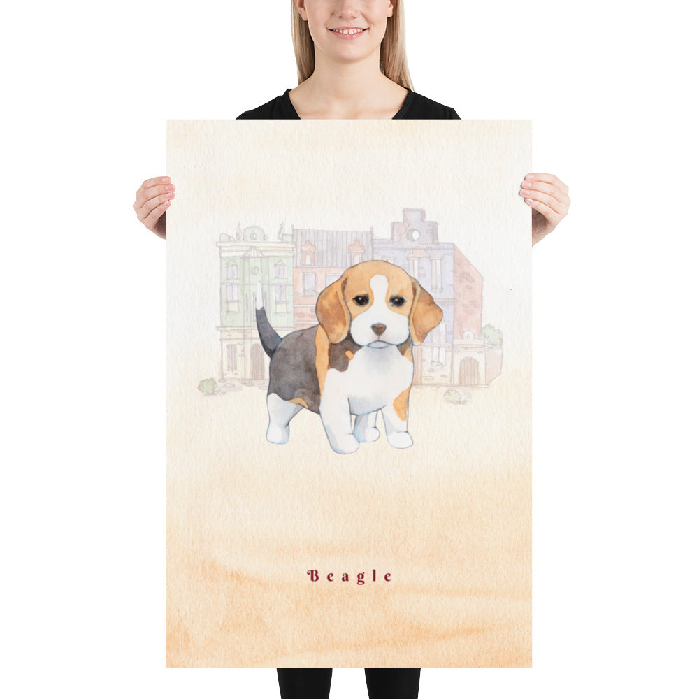 Beagle Dog Pet Art - Customizable Hand Drawn Watercolor Style Poster For Pet Lovers - Next Art Lab
