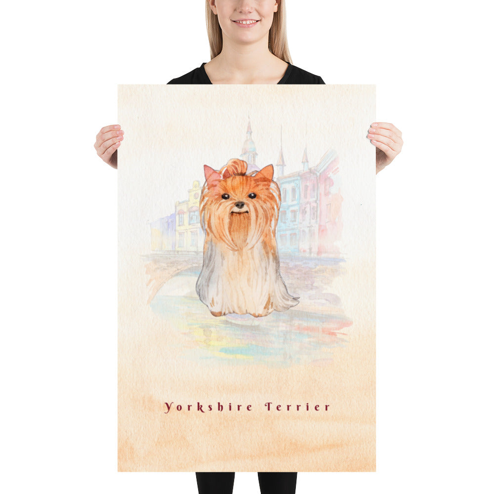 Yorkshire Terrier Dog Pet Art - Customizable Hand Drawn Watercolor Style Poster For Pet Lovers - Next Art Lab