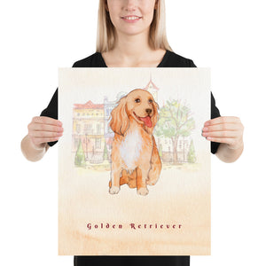Golden Retriever Dog Pet Art - Customizable Hand Drawn Watercolor Style Poster For Pet Lovers - Next Art Lab