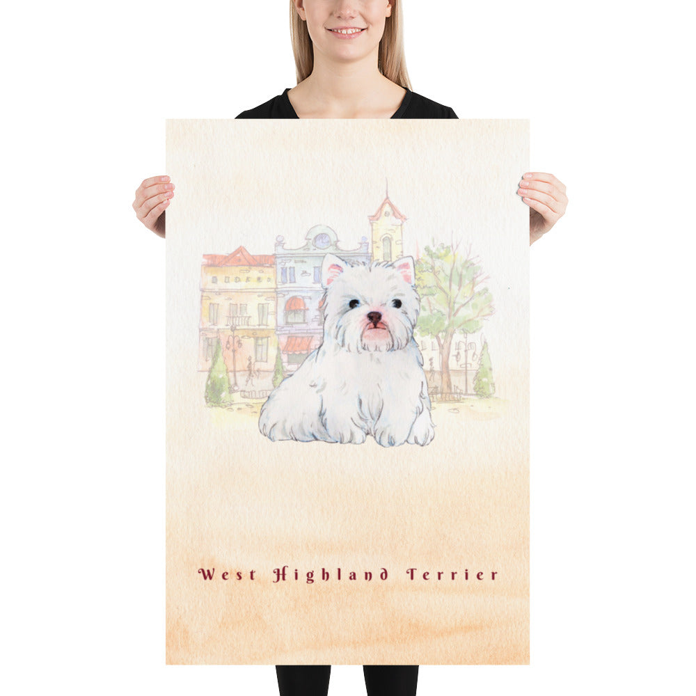 West Highland Terrier Dog Pet Art - Customizable Hand Drawn Watercolor Style Poster For Pet Lovers - Next Art Lab