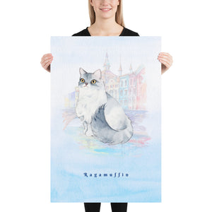Ragamuffin Cat Pet Art - Customizable Hand Drawn Watercolor Style Poster For Pet Lovers