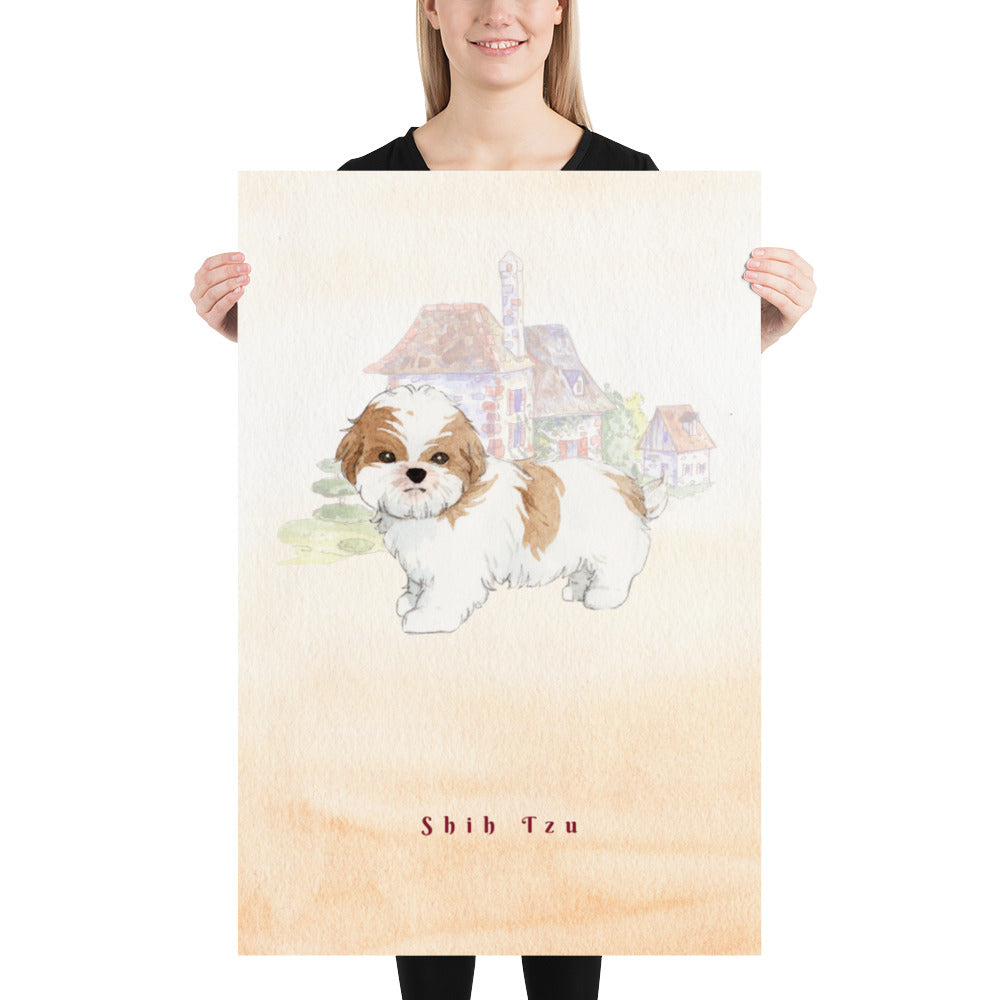 Shih Tzu Dog Pet Art - Customizable Hand Drawn Watercolor Style Poster For Pet Lovers - Next Art Lab