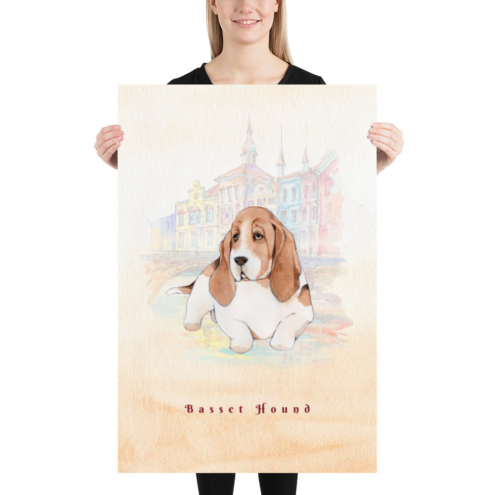 Basset Hound Dog Pet Art - Customizable Hand Drawn Watercolor Style Poster For Pet Lovers - Next Art Lab