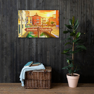 Open image in slideshow, Love in Venice Canal Customizable Premium Canvas Art - Next Art Lab
