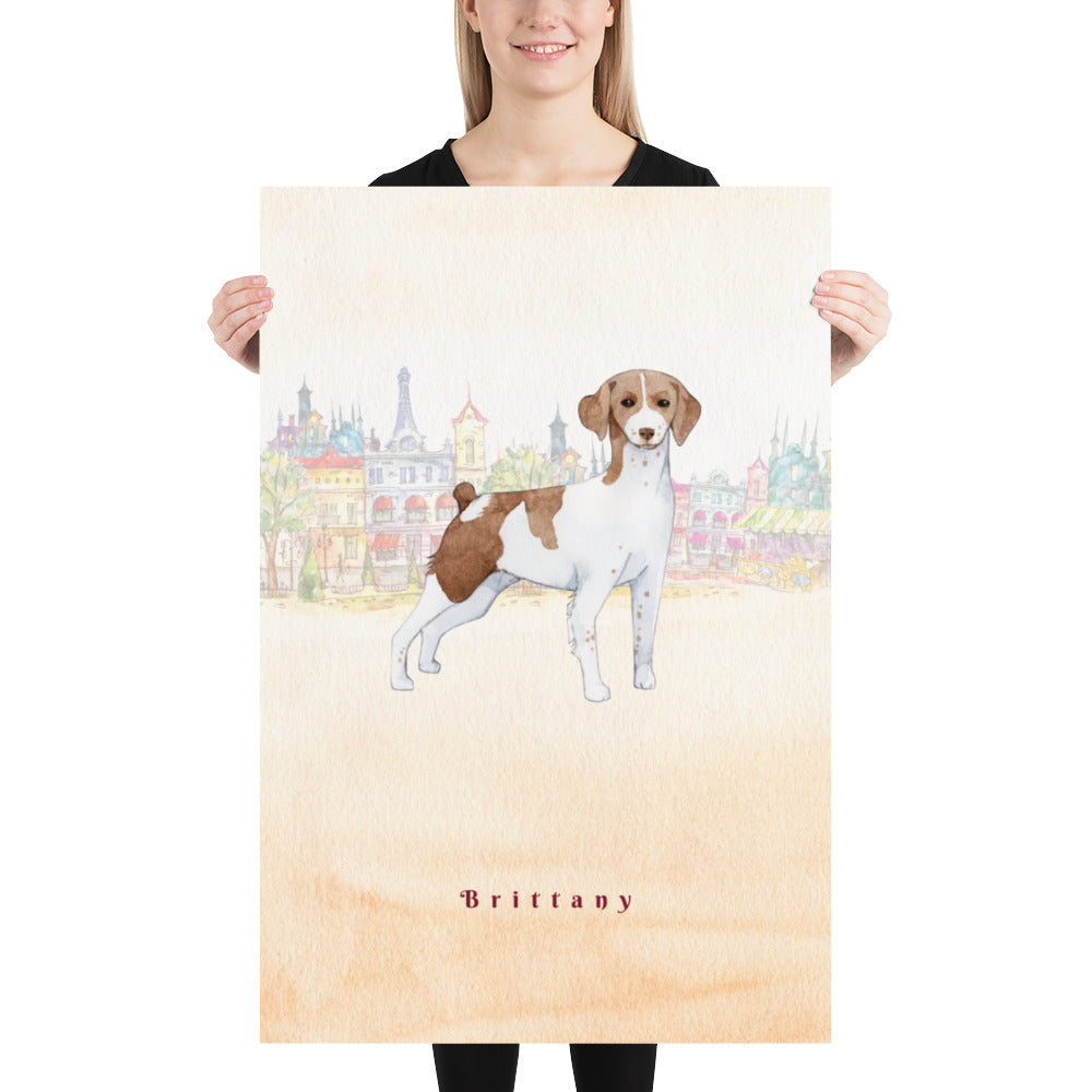 Brittany Dog Pet Art - Customizable Hand Drawn Watercolor Style Poster For Pet Lovers - Next Art Lab