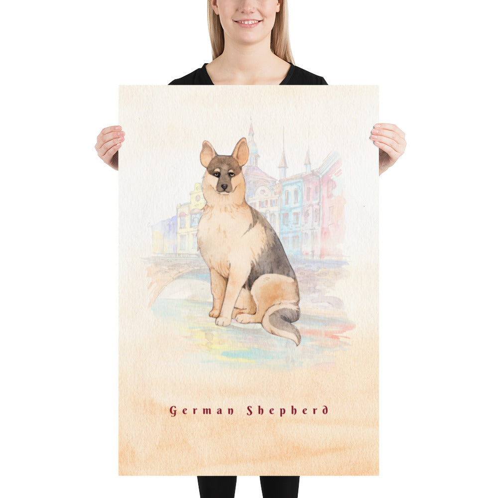 German Shepherd Dog Pet Art - Customizable Hand Drawn Watercolor Style Poster For Pet Lovers - Next Art Lab