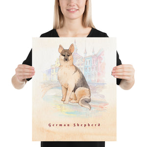 Open image in slideshow, German Shepherd Dog Pet Art - Customizable Hand Drawn Watercolor Style Poster For Pet Lovers - Next Art Lab