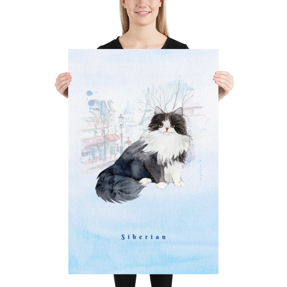 Siberian Cat Pet Art - Customizable Hand Drawn Watercolor Style Poster For Pet Lovers