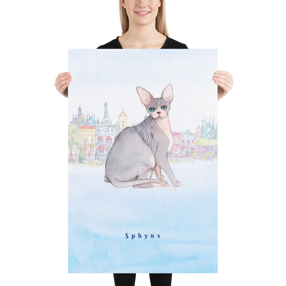 Sphynx Cat Pet Art - Customizable Hand Drawn Watercolor Style Poster For Pet Lovers