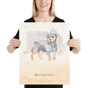 Open image in slideshow, Rottweiler Dog Pet Art - Customizable Hand Drawn Watercolor Style Poster For Pet Lovers - Next Art Lab