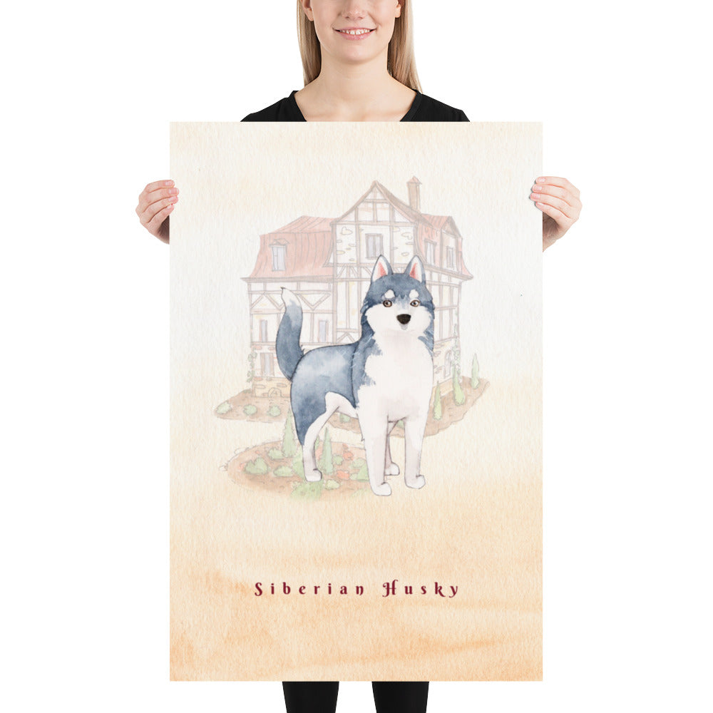 Siberian Husky Dog Pet Art - Customizable Hand Drawn Watercolor Style Poster For Pet Lovers - Next Art Lab