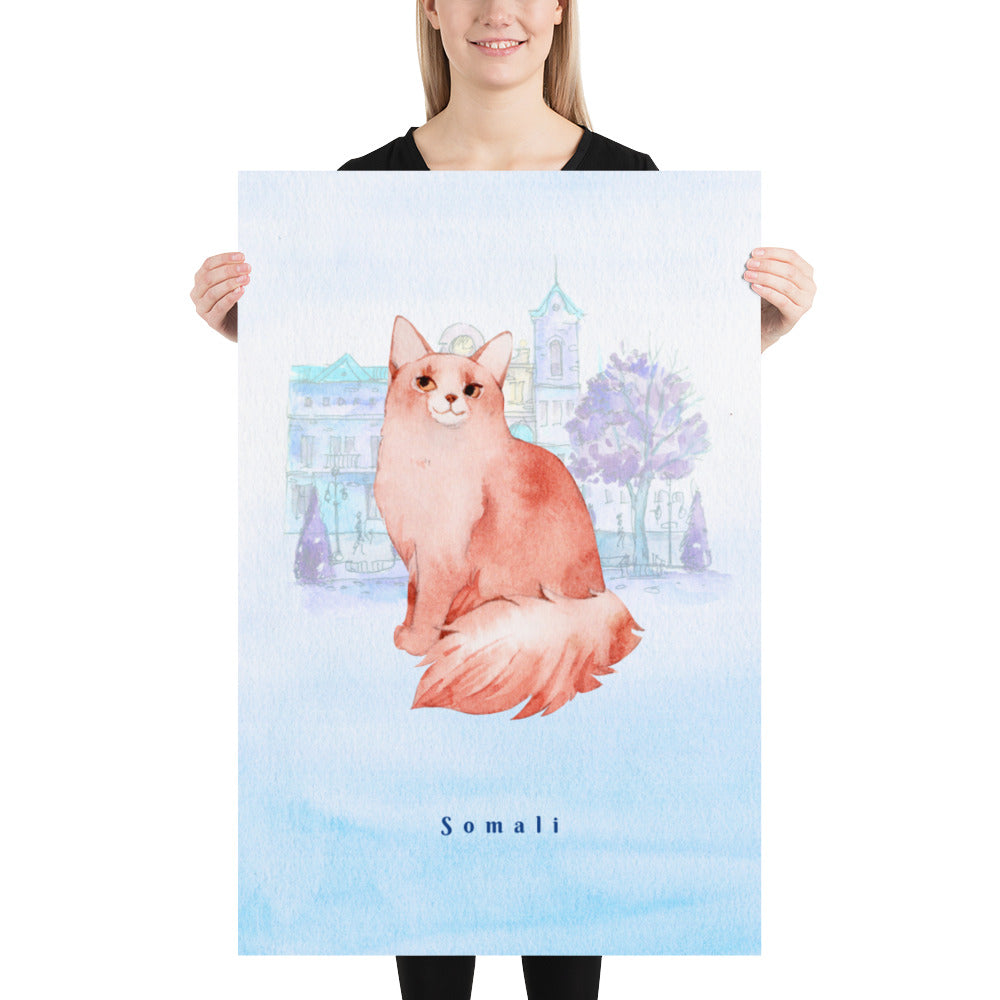 Somali Cat Pet Art - Customizable Hand Drawn Watercolor Style Poster For Pet Lovers