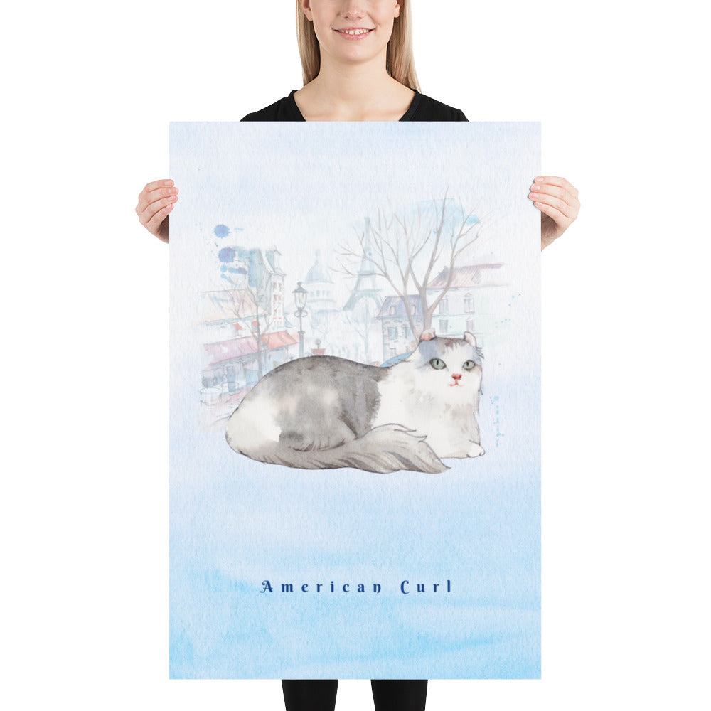 American Curl Pet Art - Customizable Hand Drawn Watercolor Style Poster For Pet Lovers