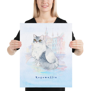Open image in slideshow, Ragamuffin Cat Pet Art - Customizable Hand Drawn Watercolor Style Poster For Pet Lovers