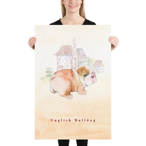 English Bulldog Pet Art - Customizable Hand Drawn Watercolor Style Poster For Pet Lovers