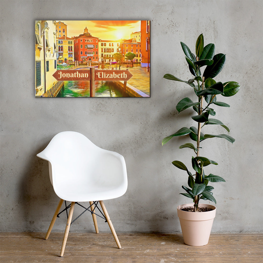 Love in Venice Canal Customizable Premium Canvas Art - Next Art Lab