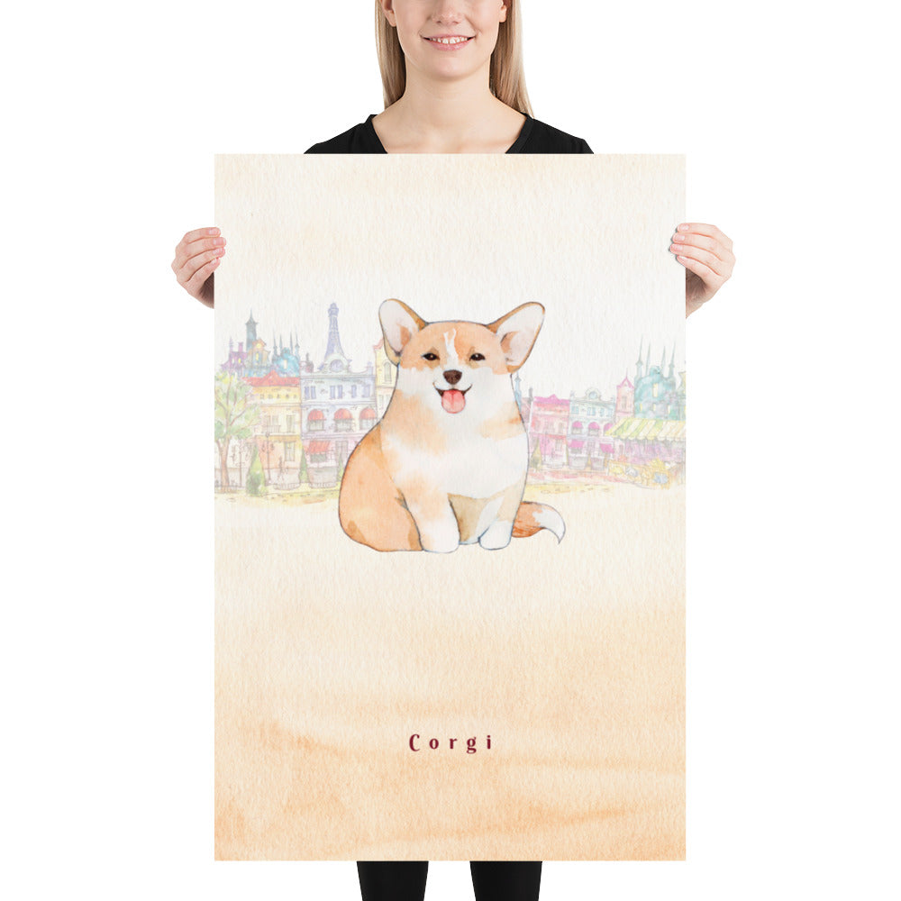 Corgi Dog Pet Art - Customizable Hand Drawn Watercolor Style Poster For Pet Lovers - Next Art Lab