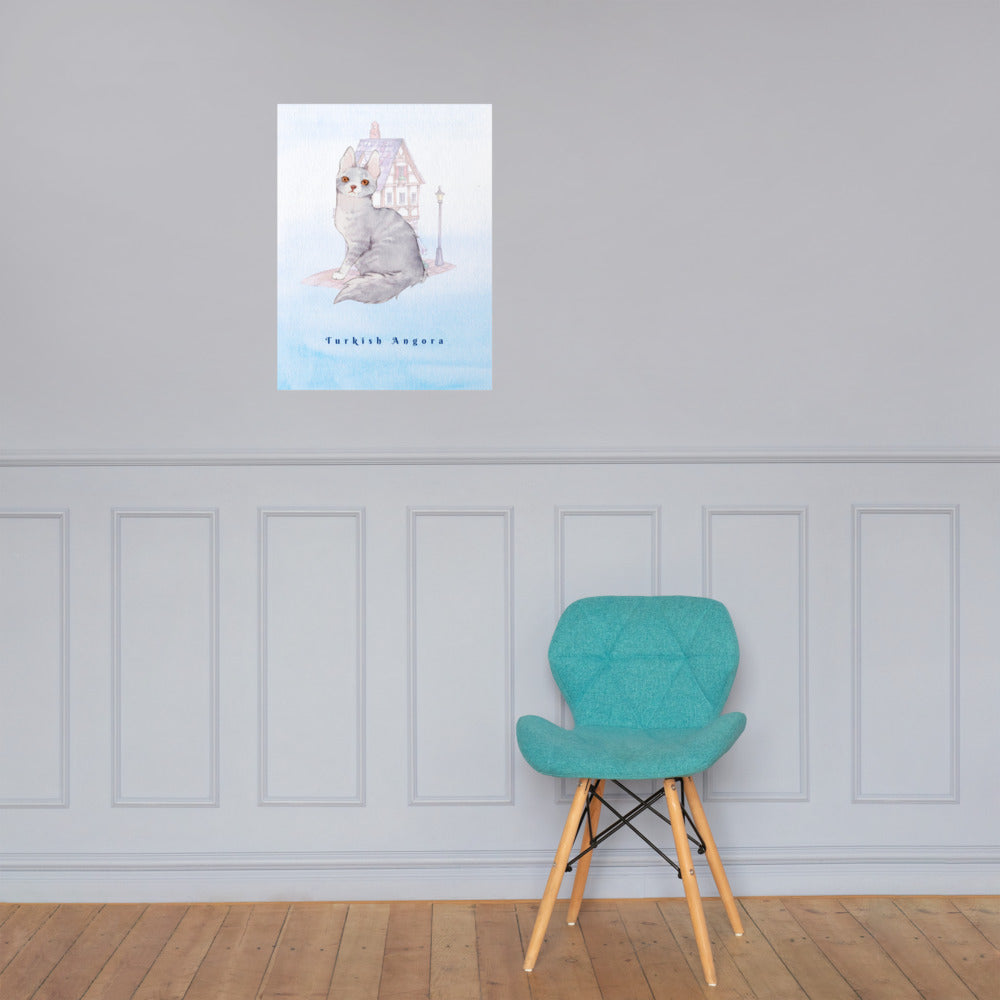 Turkish Angora Cat Pet Art - Customizable Hand Drawn Watercolor Style Poster For Pet Lovers