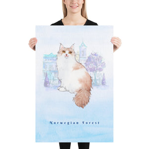 Norwegian Forest Cat Pet Art - Customizable Hand Drawn Watercolor Style Poster For Pet Lovers