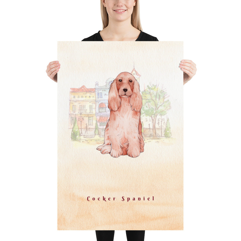 Cocker Spaniel Dog Pet Art - Customizable Hand Drawn Watercolor Style Poster For Pet Lovers - Next Art Lab