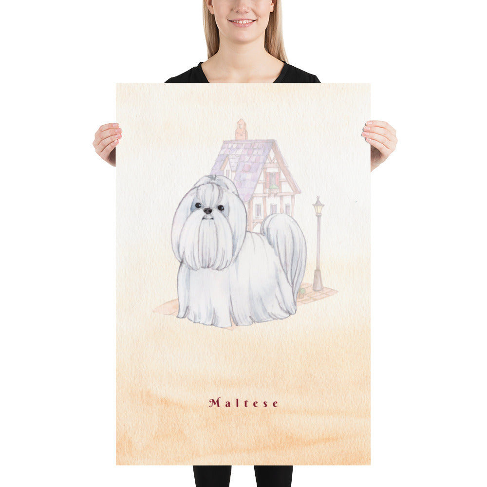 Maltese Dog Pet Art - Customizable Hand Drawn Watercolor Style Poster For Pet Lovers - Next Art Lab