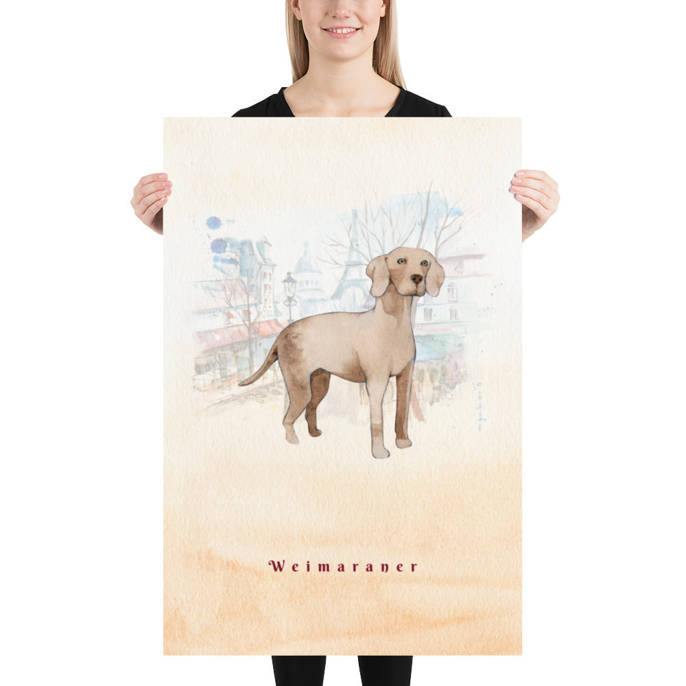Weimaraner Dog Pet Art - Customizable Hand Drawn Watercolor Style Poster For Pet Lovers - Next Art Lab