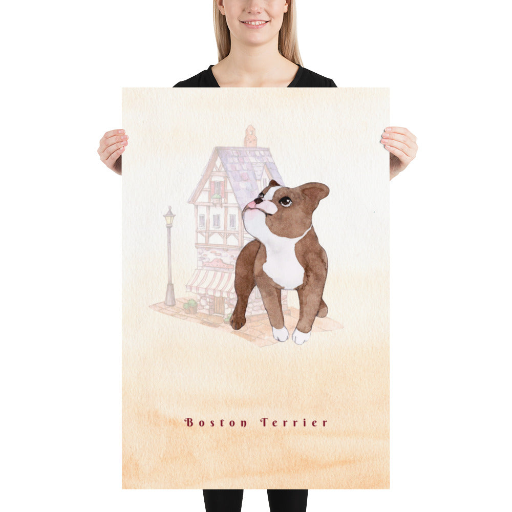 Boston Terrier Pet Art - Customizable Hand Drawn Watercolor Style Poster For Pet Lovers - Next Art Lab