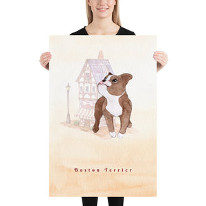 Boston Terrier Pet Art - Customizable Hand Drawn Watercolor Style Poster For Pet Lovers