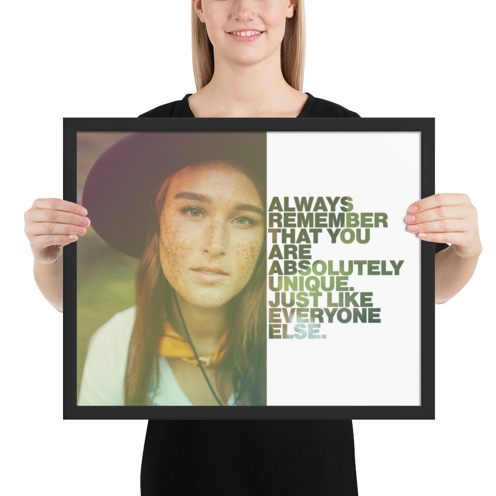 "Customizable Motivational Framed Premium Poster. ""Always remember that you are absolutely unique. Just like everyone else."" -Margaret Mead - Next Art Lab"
