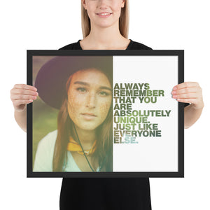 "Open image in slideshow, Customizable Motivational Framed Premium Poster. ""Always remember that you are absolutely unique. Just like everyone else."" -Margaret Mead - Next Art Lab"