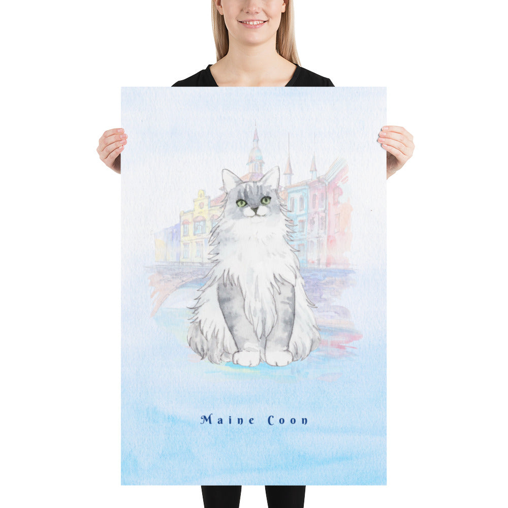 Maine Coon Cat Pet Art - Customizable Hand Drawn Watercolor Style Poster For Pet Lovers